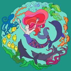 Decorative element with mermaid, dolphins, fish, algae. Bright color vector illustration.