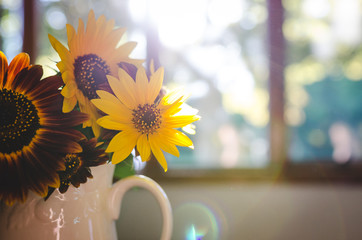 Sunflowers in a pitcher on a table
