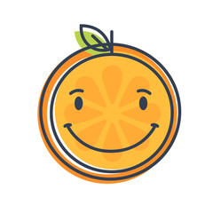 Happy smile emoji. Smiley orange fruit emoji. Vector flat design emoticon icon isolated on white background.
