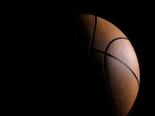 Basketball close-up on black background