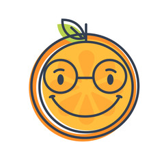 Cute smile emoji wearing glasses. Smiley smart orange fruit emoji with glasses. Vector flat design emoticon icon isolated on white background.