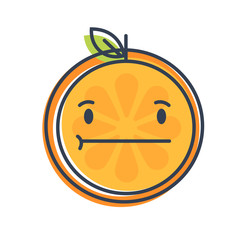 No words straight face emoji. No words feeling orange fruit emoji. Vector flat design emoticon icon isolated on white background.