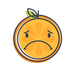 Sad emoji. Sad despondent orange fruit emoji feeling like crying. Vector flat design emoticon icon isolated on white background.