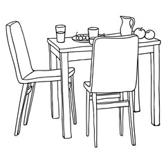 Interior hand-drawn sketch. Kitchen table with morning meal, two chairs. Black and white vector illustration.