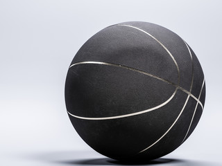 Black metalic Basketball close-up on studio background