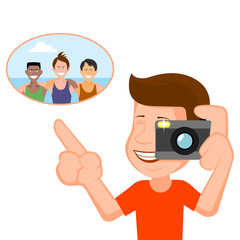 Person does a photo of the cheerful company a vector illustration.