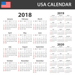 USA Calendar for 2018, 2019 and 2020. Scheduler, agenda or diary template. Week starts on Sunday