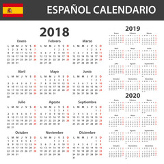 Spanish Calendar for 2018, 2019 and 2020. Scheduler, agenda or diary template. Week starts on Monday