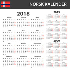 Norwegian Calendar for 2018, 2019 and 2020. Scheduler, agenda or diary template. Week starts on Monday