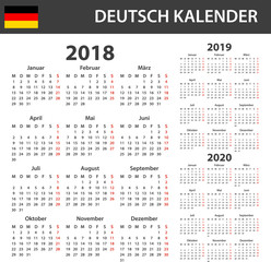German Calendar for 2018, 2019 and 2020. Scheduler, agenda or diary template. Week starts on Monday