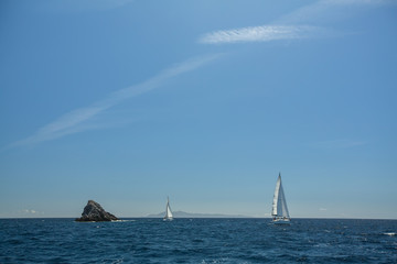 Sailing ship yachts with white sails in the open Sea.