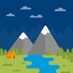 Flat vector illustration with mountains, river, forest and tent on night background. Color camping image. Icon with elements of nature. Beautiful geometric illustration. Landscape evening composition.