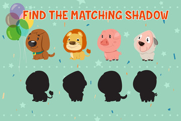 Animals Shadow Matching Game for Kids