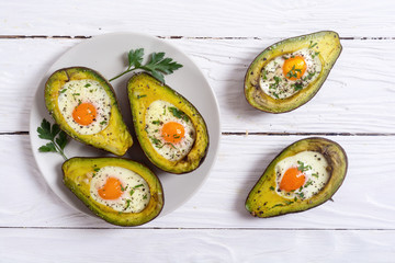 Baked avocado with eggs