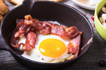 Aluminium Prints Egg pan with fried eggs