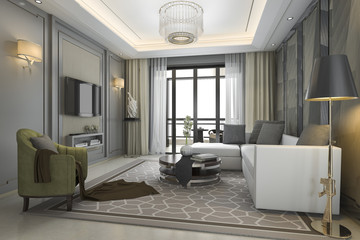 3d rendering luxury and modern living room with great view