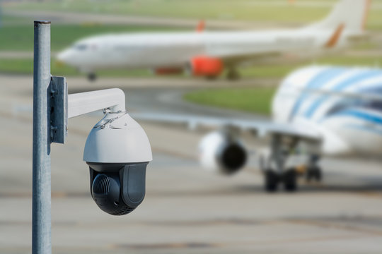 Security camera in the airport appron.