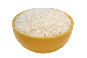 rice closeup on white background