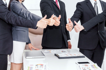 Business teamwork show thumb up