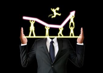 成功のイメージとビジネスマン