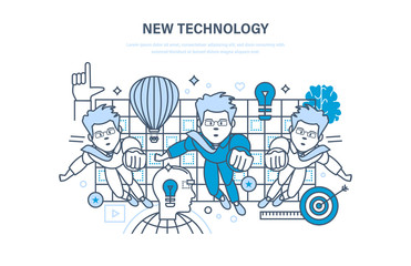 New technology. Innovation research. Education, online courses, start up, training.