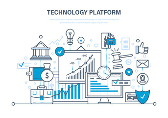 Technology platform. Cloud storage, network. Business, financial and innovative platform. Wall mural
