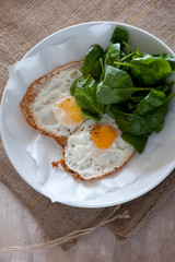 balanced meal with eggs and salad