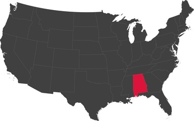 Map of the United States of America split into individual states. Highlighted state of Alabama.