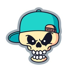Rapper Skull Cartoon Logo Vector Illustration