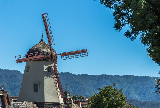 Danish windmill houses in a tourist town in California