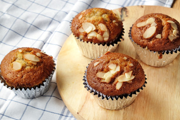 Banana cupcakes, very yummy and delicious banana cake and almond toping.