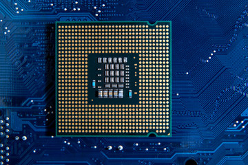 cpu on circuit board background. computer motherboard