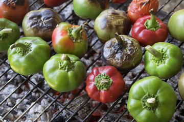 barbecuet hot peppers and tomatoes