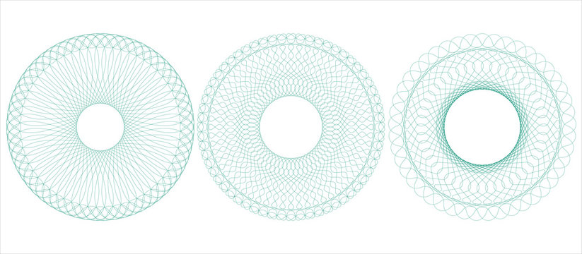 Circular guilloche for certificate, diploma, voucher, money design, currency, check, ticket etc. Vector illustration. Abstract pattern rosette from thin lines.