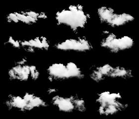 Poster de jardin Ciel single white cloud isolated on black background