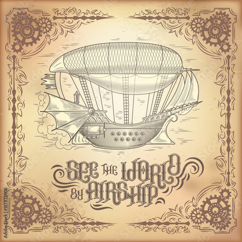 vector steampunk poster illustration of a fantastic wooden flying
