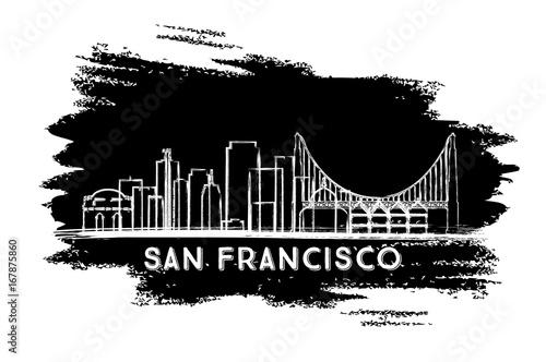 san francisco skyline silhouette hand drawn sketch stock image
