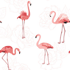 Canvas Prints Flamingo Exotic pink flamingo birds. Rose flowers bloom blossom outline background. Seamless pattern texture. Tender romantic love wedding theme. Vector design illustration.