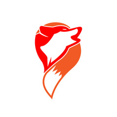Wolf logo - Head and tail of a wolf. vector illustrator.