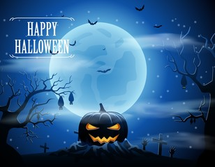 Halloween background with pumpkin and the moon. Vector illustration