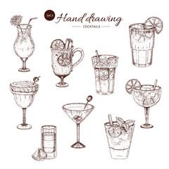 Alcoholic Cocktails Hand Drawn Monochrome Set