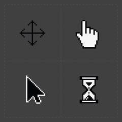 Pixel cursors icons on black.Vector Illustration.