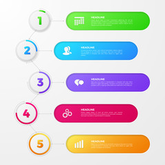 Timeline infographic with colored numbers of steps on circles, icons of team, clock, date. Vector layout for annual report, diagram and workflow chart. Template with 5 options for work process design