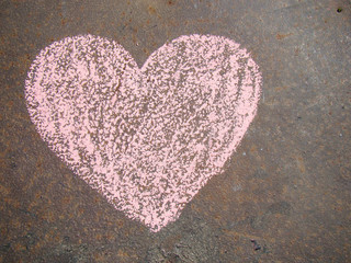 Heart chalked on the road