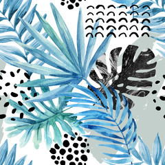 Door stickers Graphic Prints Watercolor graphical illustration: tropical leaves, doodle elements on grunge background.