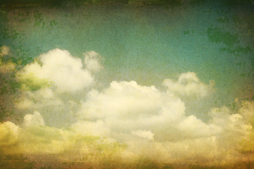 Vintage clouds grunge paper background