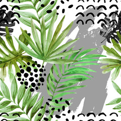 Keuken foto achterwand Grafische Prints watercolor tropical leaves and ink squiggles background