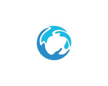 round globe water logo