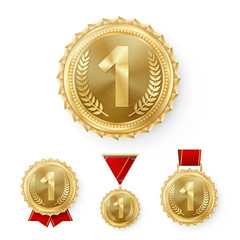 Champion Bronze Medals Set Vector. Metal Realistic 3rd Placement Winner Achievement. Number Three. Round Medal With Red Ribbon. Relief Detail. Best Challenge Award Sport Competition Game Copper Trophy