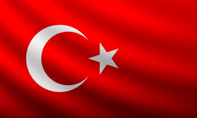 Turkish flag blowing and waving in the wind. Background texture. vector illustration